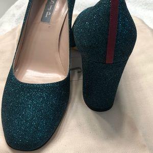 SJP Emerald Block Heels